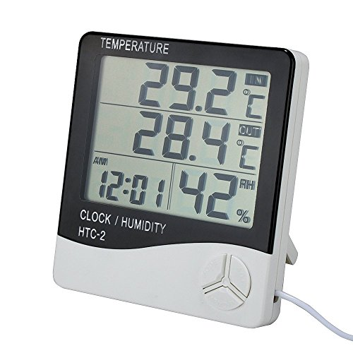 Lcd Temperature Thermometer (Digital Indoor Outdoor Thermometer Hygrometer, Temperature and Humidity Monitor With LCD Screen Alarm Clock, 1.5m Probe Cord for Bedroom, Home, Office)