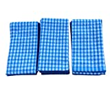 LifEast Classic Kitchen Towels,Tea Towels Dish Cloth,100% Natural Cotton,Ultra Absorbent and Lint-Free,Machine Washable,18 x 25 Inch (3, blue)
