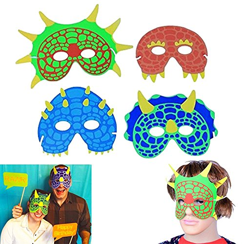 Dinosaur Mask | Party Costume Foam Mask  | Birthday Party Supplies | 12 Pieces | Fun Masquerade Idea | Dazzling Toys - Masquerade Mask Halloween Costume Ideas