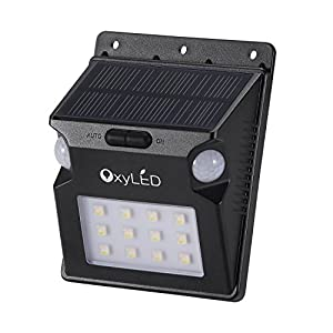Solar Motion Sensor Light, OxyLED SL07 Solar Powered LED Light with Dual Motion Sensors,12 LEDS Solar Outdoor Security Lighting, Wireless Waterproof Landscape Path Light for Patio/Yard/Garden