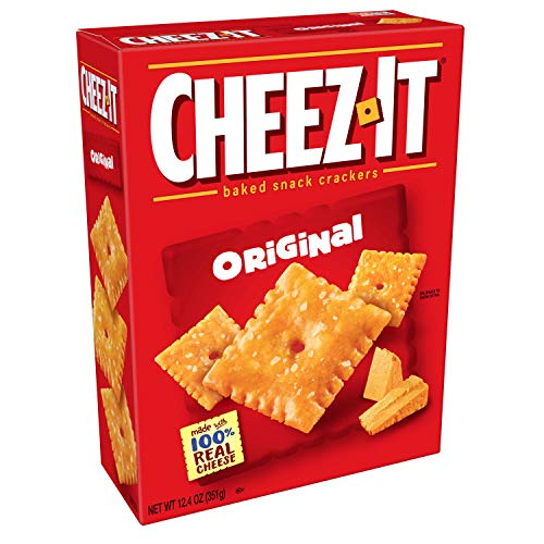 Cheez-It Original Cheese Crackers - School Lunch Food, Baked Snack, Family Size (12.4 oz Box)