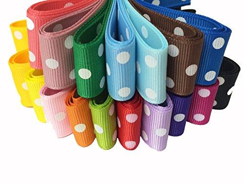 1 Yard Grosgrain Ribbon - PEPPERLONELY Brand 17 Yards 1 Inch Polka Dots Printed Grosgrain Ribbon (17 Color, 1 Yard Each)