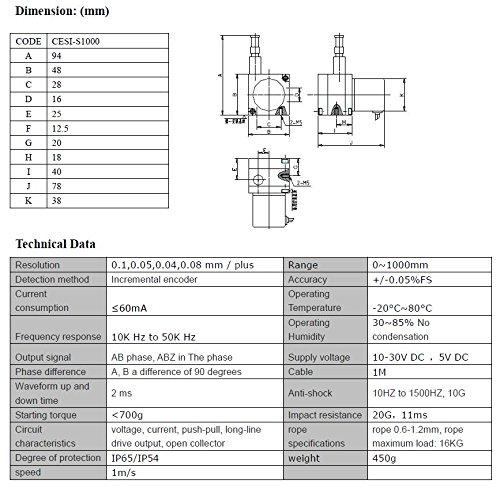 CALT 1 Meter Stroke Linear String Pot Encoder Sensor 6 Digit Digital Meter  Counter Display: Amazon.com: Industrial & ScientificAmazon.com