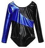 ferty Girls Elastic long sleeved Gymnastic Leotard Soft Shiny One-piece Gym Suit
