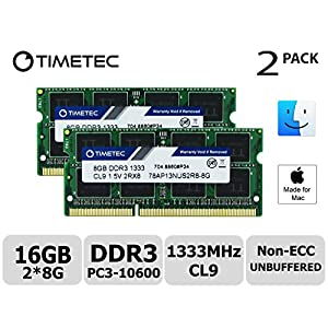Timetec Hynix IC Apple 16GB Kit (2x8GB) DDR3 1333MHz PC3-10600 SODIMM Memory Upgrade MacBook Pro 13-inch /15-inch /17-inch Early/Late 2011, iMac 21.5-inch Mid/Late 2011(16GB Kit (2x8GB))