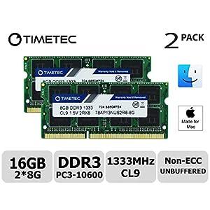 Timetec Hynix IC Apple 16GB Kit (2x8GB) DDR3 1333MHz PC3-10600 SODIMM Memory Upgrade MacBook Pro 13-inch /15-inch /17-inch Early/Late 2011, iMac 21.5-inch Mid/Late 2011(16GB Kit (2x8GB))