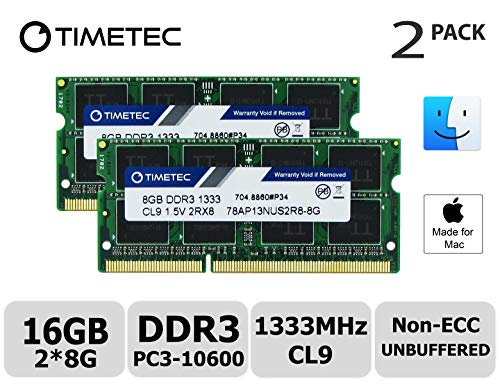 Timetec Hynix IC Apple 16GB Kit (2x8GB) DDR3 1333MHz PC3-10600 SODIMM Memory Upgrade for MacBook Pro 13-inch /15-inch /17-inch Early/Late 2011, iMac 21.5-inch Mid/Late 2011(16GB Kit (2x8GB)) (Best Of Bto So Far)