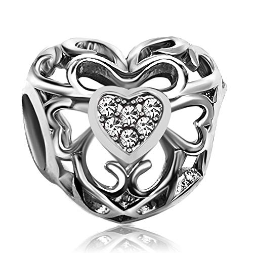 JMQJewelry Heart Love April Birthstone White Charms Beads for Bracelets Mother Christmas's Day