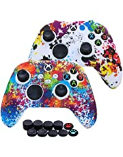 [2 Pack] Jusy Xbox Series X/S Controller Soft Silicone Cover Skin, Sweat-Proof Anti-Slip Case Cover Protective Accessories Set, Dust-Proof Skin for Xbox Series X/S, with 10 Thumb Grips (Graffiti)