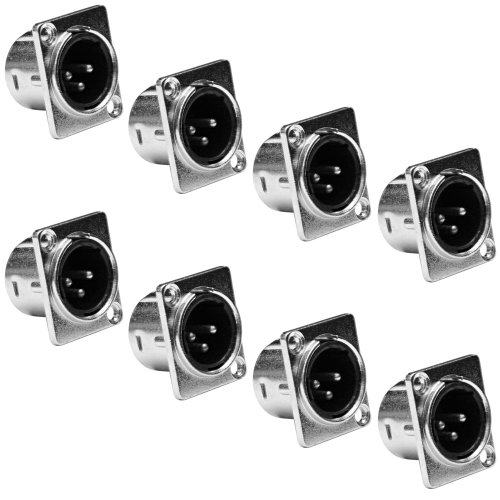 Seismic Audio - SAPT51 (8 Pack) - XLR Male Nickel Panel Mount Connectors
