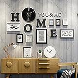 LQQGXL 8 photo frame wood combination vinyl album wall pendant living room decoration Photo frame