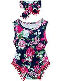 a54cf1eac Newborn Toddler Baby Girl Floral Sleeveless Bodysuit Romper Jumpsuit Outfit  Set Casual Clothes with Headband