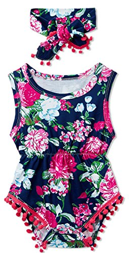 - Leapparel Little Kids Summer Rose Red Pompom Romper Feather Print Outfits Newborn Bodysuits Jumpsuits for 6-12 Months