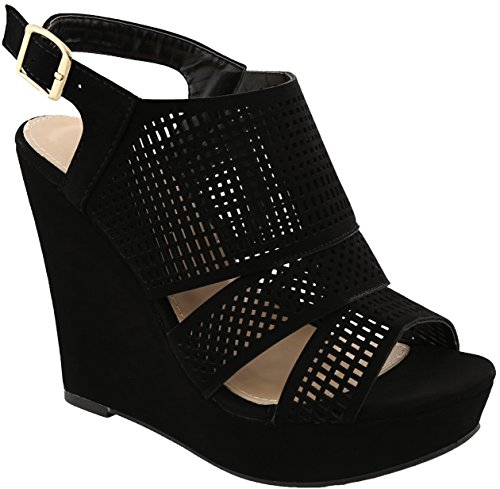 MVE Out Platform Open Women's Cut Toe Wedges Buckle Shoes Blackj20 fOROqxS
