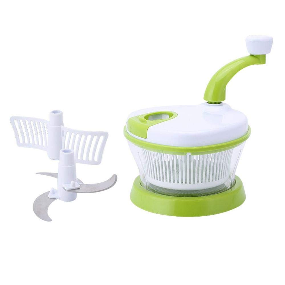 Szblk Manual Chopper Multifunctional 4-in-1 Vegetable Chopper, Vegetable Cutter, Vegetable, Manual Meat, Kitchen Mixer, Slicer, Grinder, Salad Machine (Color : Green) by Szblk