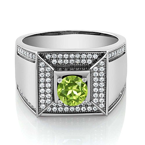 1.95 Ct Round Green Peridot Gemstone Birthstone 925 Sterling Silver Men's Ring (Ring Size (Green Peridot Gemstone)