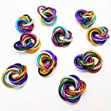 Möbii Half Small Mobius Hand Fidget Toy, Shiny Stress Rings for Restless Hands, Office Toy (Rainbow 10 Pack, Small)
