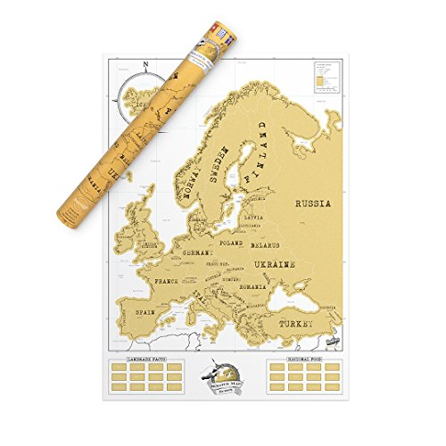 Luckies of London LUD9W Europe Scratch Off Travel Map - Amazing Map Décor - The Perfect Travel Gift - White/Gold, Euro Edition