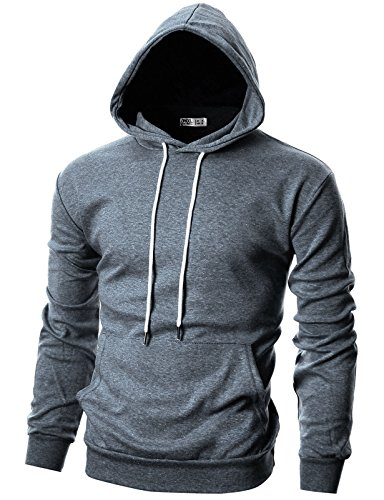 OHOO Mens Slim Fit Long Sleeve Lightweight Hoodie with Kanga Pocket/DCF010-BLUEGREY-XS (Letterman Sweater Men)