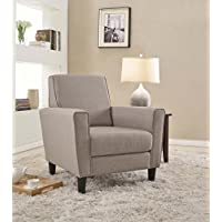 Container Furniture Direct Contemporary Twill Fabric Upholstered Living Room Arm Chair, Accent Chair with Back, Brown