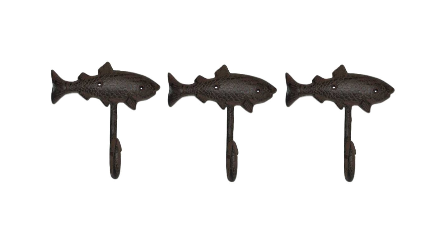 Amazon.com: Pescado perchero de pared – Conjunto de 3 ...