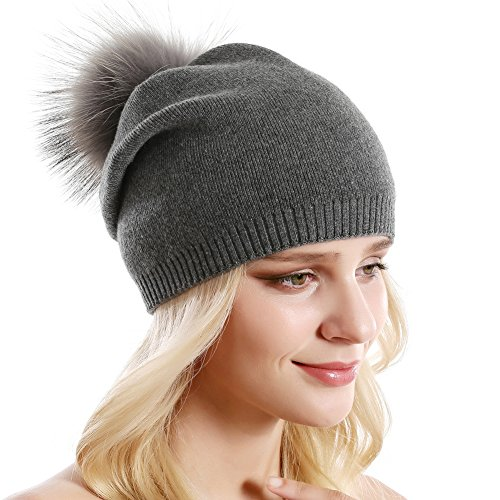 Women Knit Wool Beanie - Winter Solid Cashmere Ski Hats Real Raccoon Fur Pom Pom (Dark Grey 2)