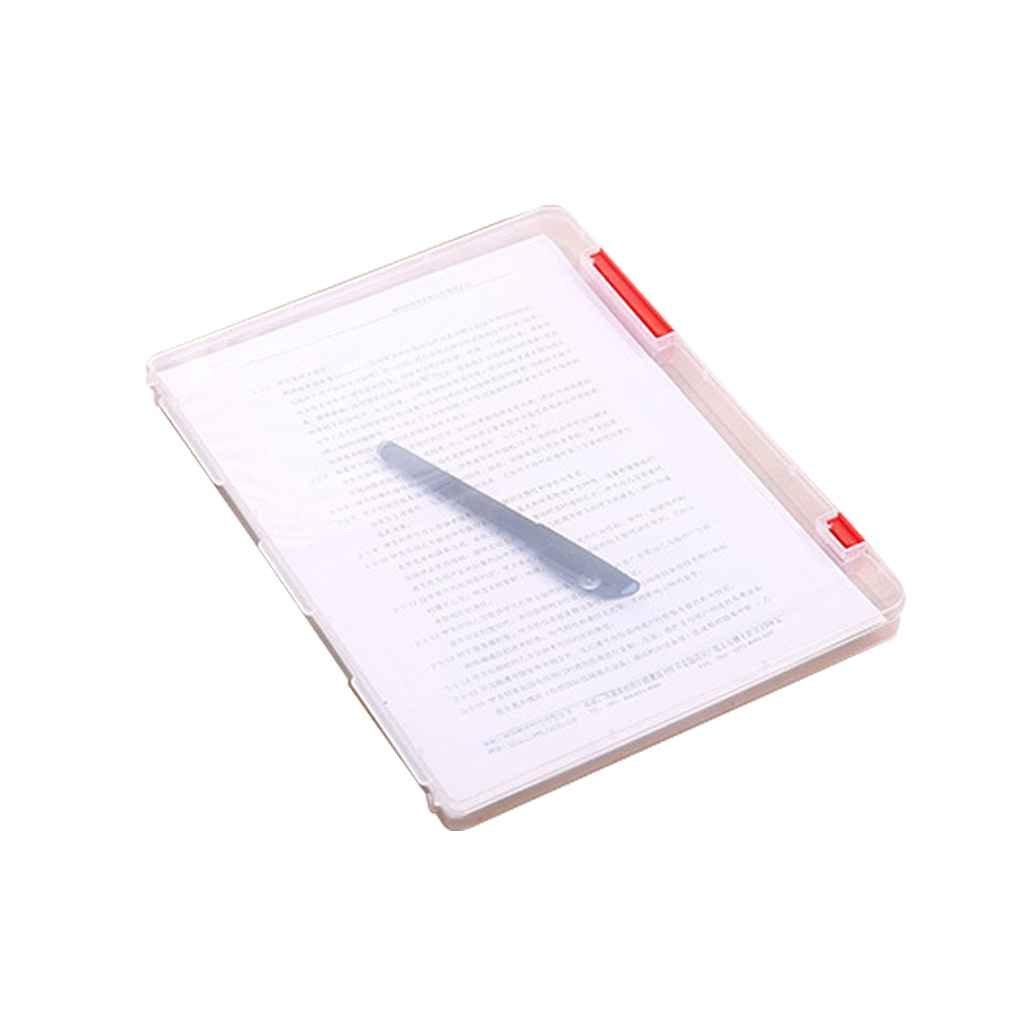 Aiming Caja de Almacenamiento de Archivos A4 Cajas de Documentos de pl/ástico Transparente Organizadores de Papel de Escritorio Azul