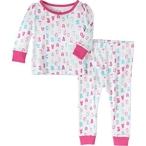 - Baby and Toddler Girls Snug Fit Graphic Pajama Long Sleeve Shirt and Pants Two-Piece Set (9 Months, 123 ABC)