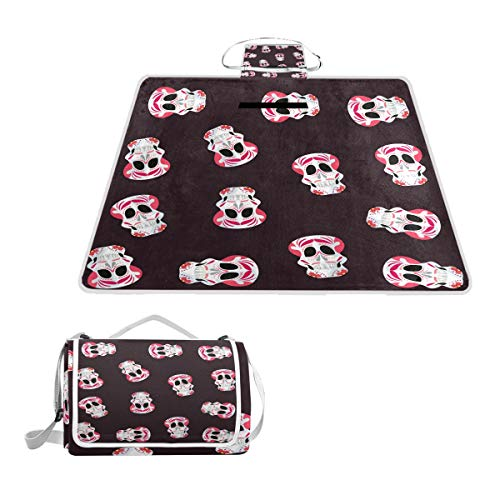 Lucasse Philippd Wine Red Fashion Rose Skull Outdoor Waterproof Portable Tote Bag Picnic Blanket Double Spring and Summer Suitable for Beach Lawn Camping Waterproof Sand