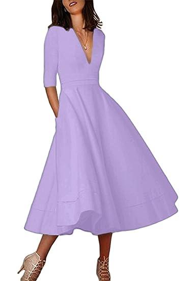 ed2287b7800 OMZIN Womens Vintage Retro Party Flared Swing Midi Skater Dress Light Purple  S  Amazon.co.uk  Clothing
