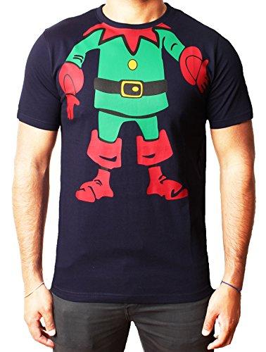 Hombre de la navidad de los bebés camiseta cuerpo de la novedad del muñeco de nieve de Santa del reno Elf Elf HoHoHo T Elf cuerpo tee Armada
