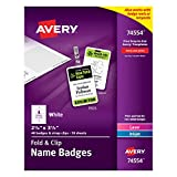 Avery Fold and Clip Name Badges, 2.25 x 3.5 Inches, White, Box of 40 (74554)