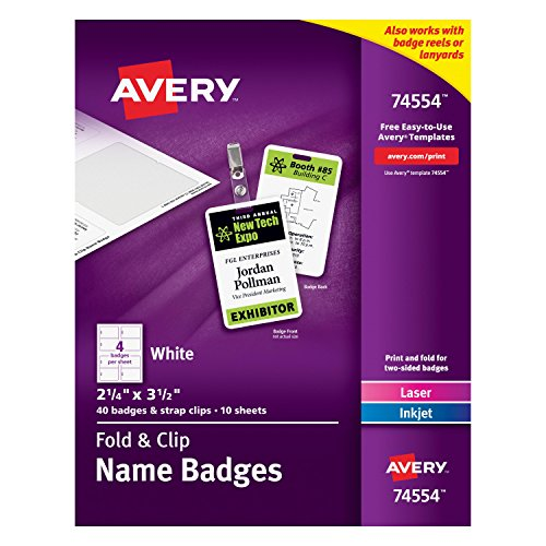 Avery Fold and Clip Name Badges, 2.25 x 3.5 Inches, White, Box of 40 (74554) by Avery