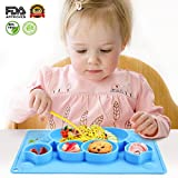 Baby Placemat,Charminer Kids Suction Plates Portable Toddler Bowls, Silicone Non Slip Mats for Baby Led Weaning Cute Animal Shape