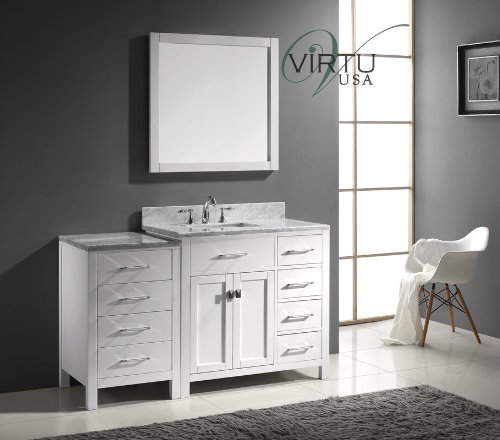 Virtu USA MS-2157R-WMSQ-WH Transitional 57-Inch Single Sink Bathroom Vanity Set, White
