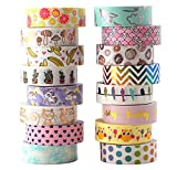 Aloha Washi Tape Set 16 Rolls of Decorative Masking Tape for Gift Wrapping, Bullet Journal, Day Planner 2018 Collection
