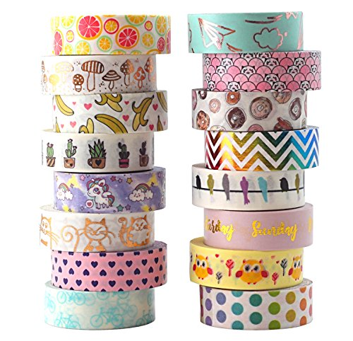 Aloha Washi Tape Set 16 Rolls of Decorative Masking Tape for Gift Wrapping, Bullet Journal, Day Planner 2018 Collection by Aloha Tapes