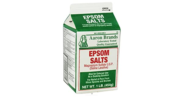 Amazon.com: Aaron Industries, Epsom Salts, Magnesium Sulfate U.S.P. (Saline Laxative), 1 lb (454 g): Health & Personal Care