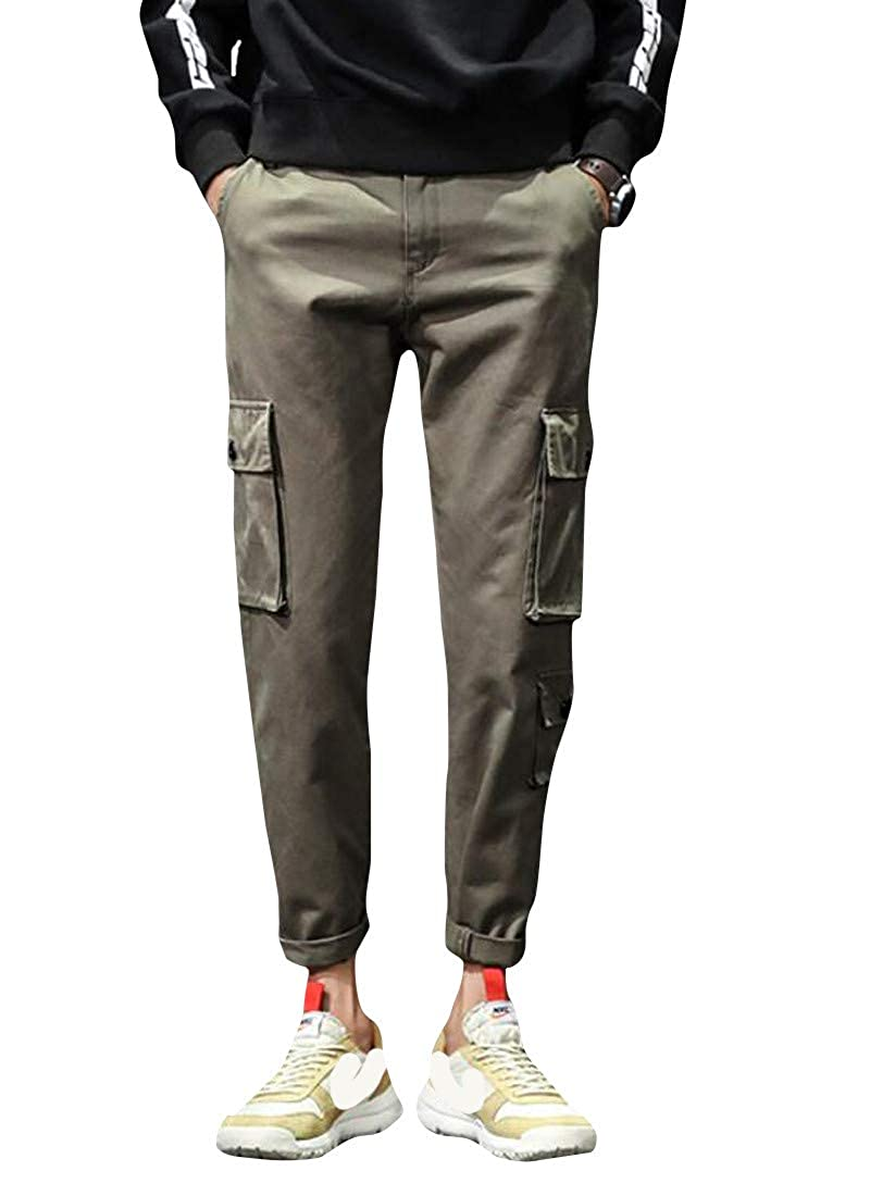 Lutratocro Mens Straight-Leg Hipster Slim Trousers Cargo Multi Pockets Pants