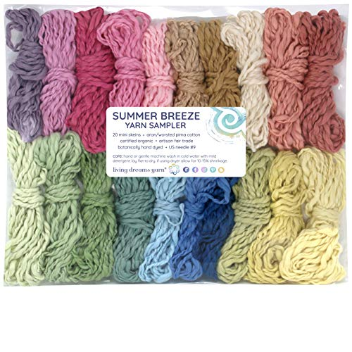 Living Dreams Yarn SUMMER BREEZE Yarn Sampler - Certified Organic Pima Cotton Hand Dyed with Peruvian Botanicals. Cruelty Free & Fair Trade. 20 Color Samples ()