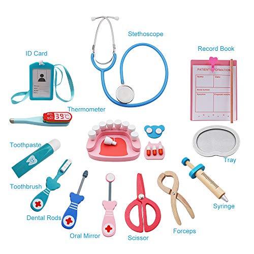 Tresbro Doctor Kits for Kids, Wooden Dentist Tool Toys for ...