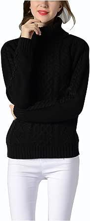 SuéTer de Camisa con Base de Cable de Manga Larga de Punto de Cuello Alto para Mujer Blanco Gris Negro Burdeos Verde Militar Azul Tibetano