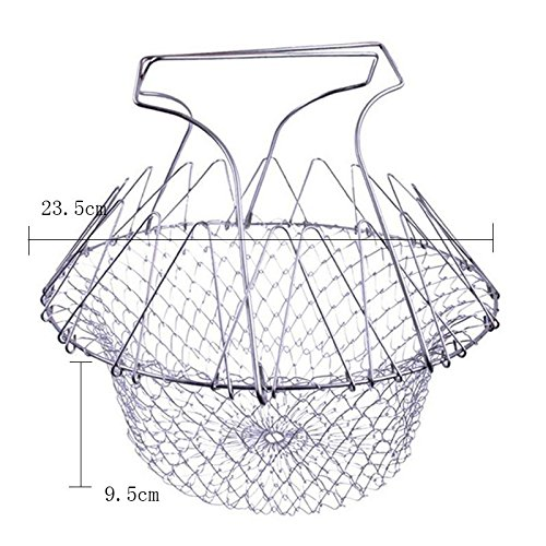 1PCS Foldable Steam Rinse Strain Fry French Chef Basket Magic Basket Mesh Basket Strainer Net Kitchen Cooking Tool