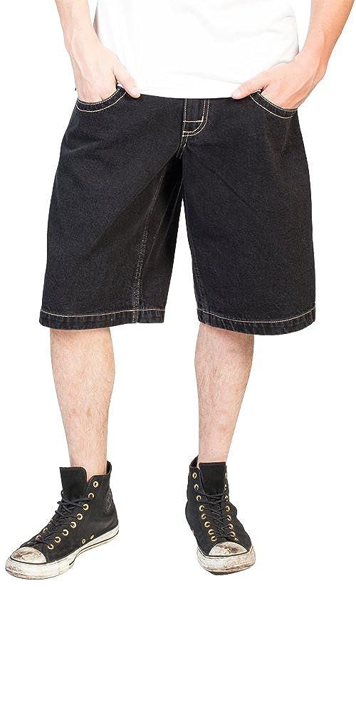 JNCO Men's Low Down Shorts Black- 13 Inseam Black)