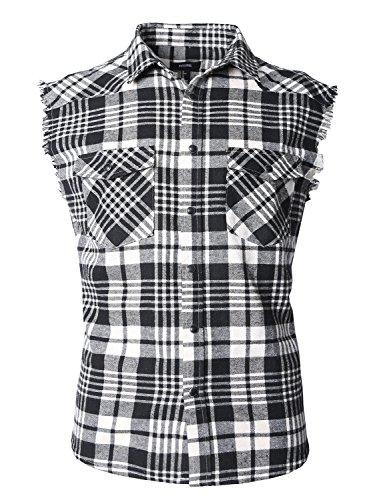 Pocket Plaid Sport Shirt (NUTEXROL Men's Casual Flannel Plaid Shirt Sleeveless Cotton Plus Size Vest)