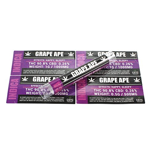 Grape Ape Medical Dispensary Strain by Shatter Labels 0.50G & 1.0G Jar & Tube Stickers TS-014 (25 x ()