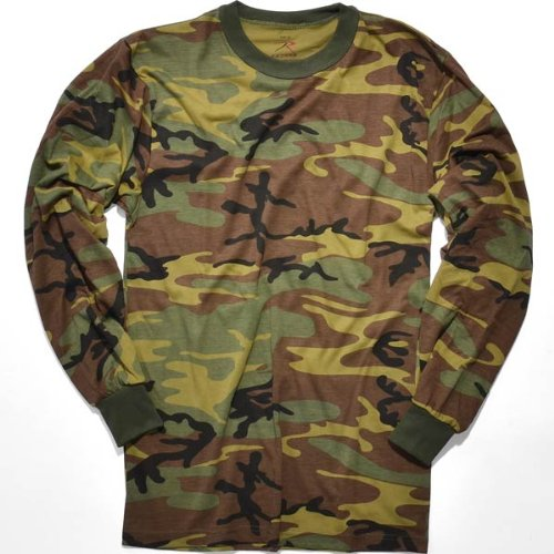 Rothco Long Sleeve T-Shirt, Woodland Camo, Large