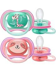 Philips Avent Ultra Air napp - Lätt napp som andas - För känslig hud - Sterliseringsbox medföljer - Perfekt för tänder och tandkött som växer - BPA fria - 2-pack - Lämplig från 18 m+ - Rosa/Turkos - SCF349/12