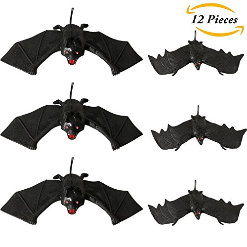 Aneco 12 Pieces Rubber Realistic Bats Halloween Flying Bats Spooky Hanging Bats for Home Décor or Halloween Party Favors, 2 Sizes