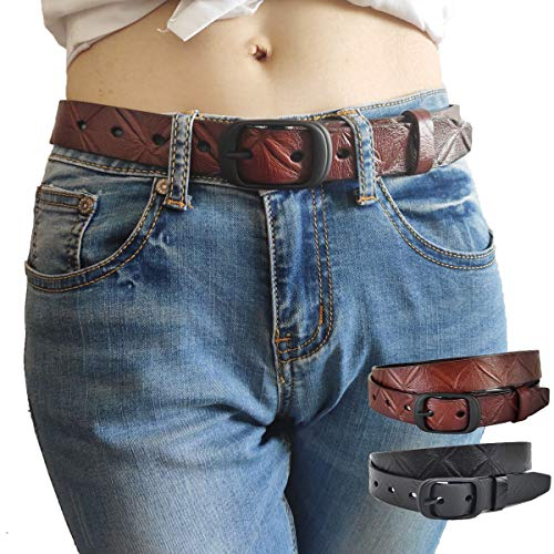 Hoanan 2 Pack Women Leather Belt Jeans Pant Shorts Waist Belt Metal Buckle
